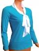 Блузка женская Бант Голубая длинный рукав