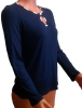 Блузка женская Капелька Темно-Синяя длинный рукав