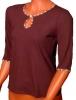 Блузка женская Капелька темно-коричневая рукав 3/4 (три четверти